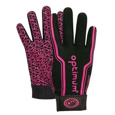 Optimum Sport Velocity Rugby Winter Gloves in Black / Pink - Elasticated Wrist