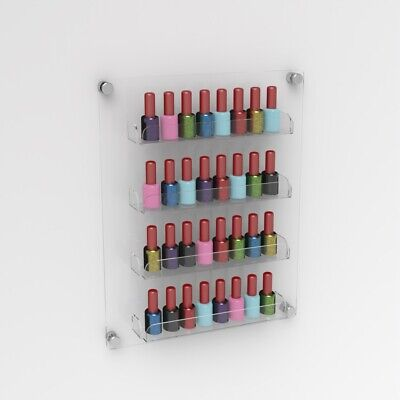 Luxury Wall Mounted Acrylic Nail Polish Shelf / Nail Varnish Bottle Holder