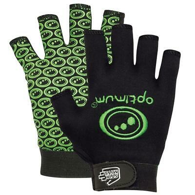 Optimum Junior Sports Rugby Gloves in Black / Green with Elasticated Wrist