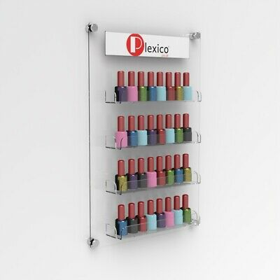 Luxury Wall Mounted Acrylic Nail Polish Bottle Shelf - With Branding Pocket