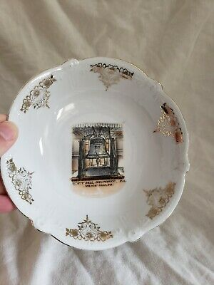 Antique Liberty Bell Independence Hall Philadelphia Penn Souvenir Bowl Germany