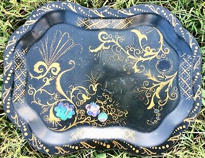 Beautiful Antique Folk Art Deco Black Gold Abalone Hand Painted Serving Tip Tray