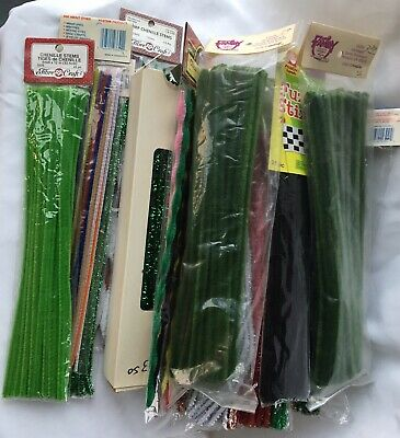 Large 622 Mixed Lot Colors Chenille VTG Sparkle Glitter Bumps Fuzzy Cure Pipe