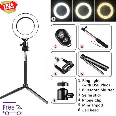 Dimmable 5500K LED Ring Light Kit With Stand For Makeup CellPhone Camera Selfie