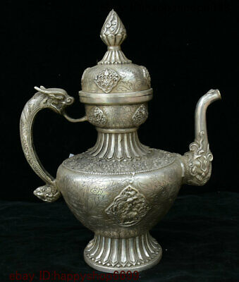 China Dynasty Silver Dragon Loong Beast Wine Tea Pot Flagon Teapot Stoup Statue
