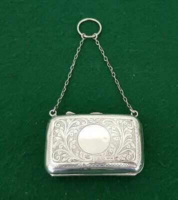 Antique HM Chester 1915 EJ Trevitt Etched Solid Sterling Silver Purse & Chain