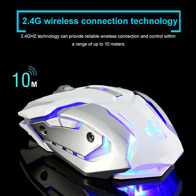 Led Laser Usb Wireless Optical Game Gaming Mouse Rechargable X7 White