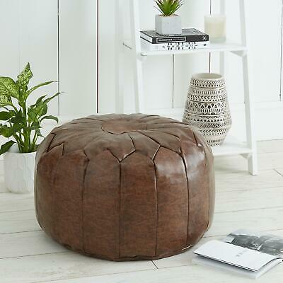 Moroccan Styled Pouffe Ottoman Footstool Faux Leather Brown Seat Rest Decor