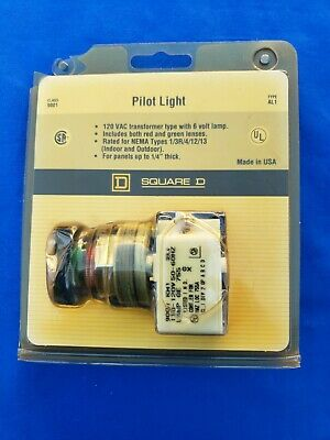 Square D Type AL1 Pilot Light 120v With Red & Green Lenses - new