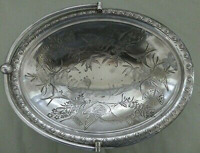 Aesthetic Movement silver plated Bread basket, Dresser birds dragonfly butterfly