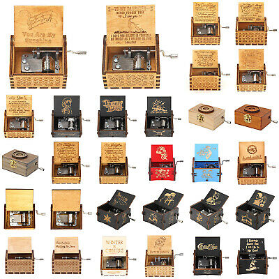Retro Wooden Music Box Hand Cranked Engraved Toys Home Ornament Crafts Kids Gift