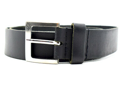 Vintage Handmade Mens Real Leather Belt Black Size 34