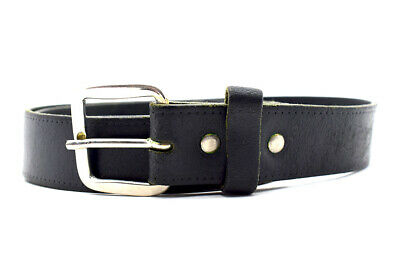 Vintage Hand Made Mens Leather Belt Black Size 32