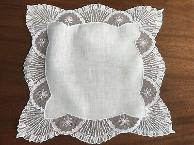Vintage White Lawn & Tulle Lace Wedding Handkerchief 11x11 Inches