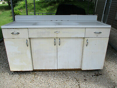 Vintage Youngstown By Mullins Enamel Double Farmhouse Kitchen Sink & Cabinet
