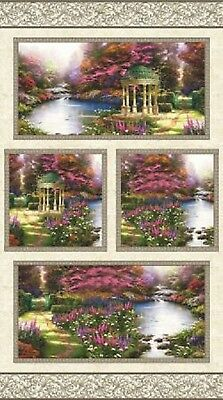 Garden Prayer Floral Thomas Kinkade Cotton Quilting Fabric Panel