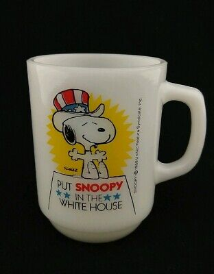Vintage Snoopy For President Mug 1980 #3 Milk Glass Fire King Anchor Hocking