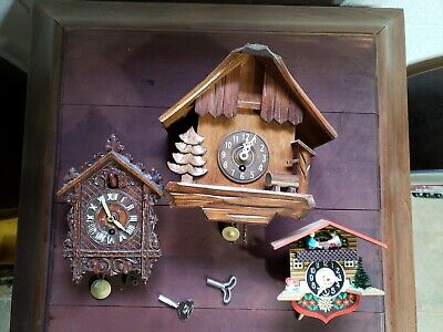 Vintage Wood Metal Coo Coo Windup Clocks Wall Clocks German American Old Clocks