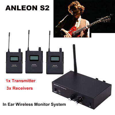 ANLEON S2 UHF Stereo Monitor System Wireless IEM Stage 1 Transmitter+ 3 Receiver