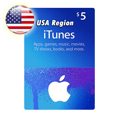 $5 Apple App Store & iTunes Store USA Region Gift Card Worldwide Delivery