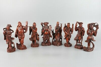 Chinese Exquisite Hand-carved the Eight Immortals Carving Boxwood statue
