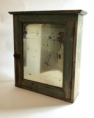 Vintage Medicine Cabinet Wood  Rustic Green Paint Antique Salvage Bevel Mirror