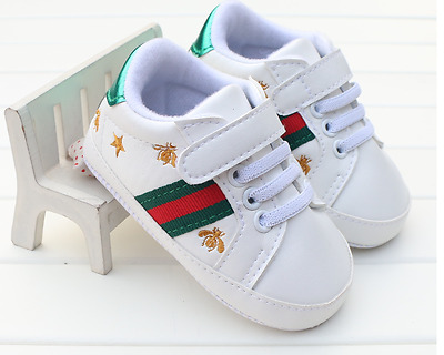Newborn Baby Boy Girl Pram Shoes Toddler Pre Walker White Sneakers Trainers 0-12