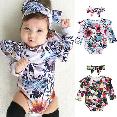 Sweet Newborn Baby Girl Floral Clothes 2PCS Romper Bodysuit Jumpsuit Outfits New