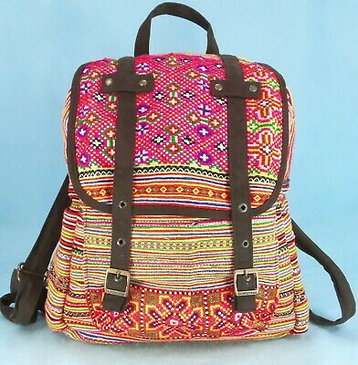 Dr. Martens Flap Backpack Travel Bag Colorful Boho Embroidered Canvas L $85 GUC