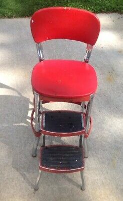 VINTAGE RED ORIGINAL Cosco Step Stool Kitchen Chair Retracting Steps