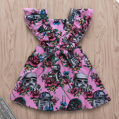 AU Toddler Infant Baby Girl Star Wars Ruffle Dress Princess Party Dress Sundress