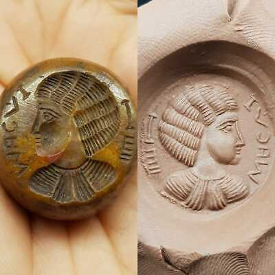 Sassanian old Queen intaglio face bead with writing # 8