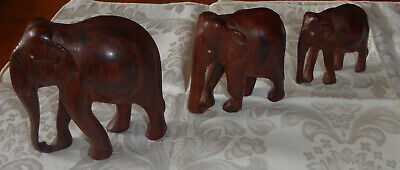 Set of 3 Mid Century Wooden Elephants