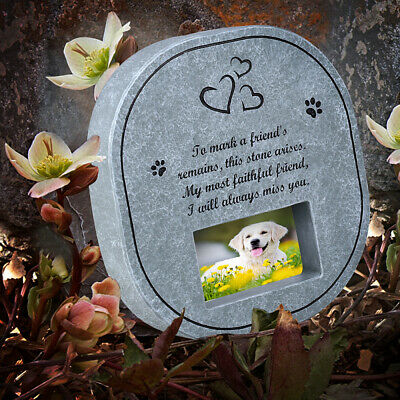 UEETEK Pet Memorial Grave Memorial Stone with Photo Frame for Dog Cat Other Pet