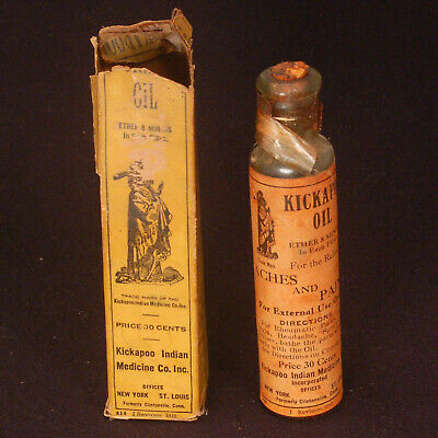 1919 Kickapoo Oil Bottle with Original Box and Kickapoo Products Pamphlet