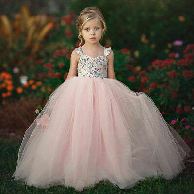 US Toddler Baby Kid Girl Princess Dress Pageant Wedding Party Lace Tutu Dresses