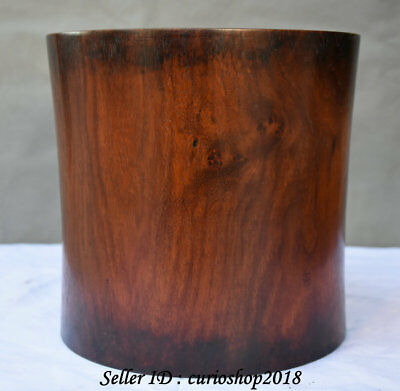 21CM Old Chinese Huanghuali Wood Dynasty Hand Carved Brush Pot Pencil Vase