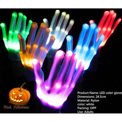 LED 6 Colors Electro Skull Gloves Light Up Flashing Finger Halloween Party Bars