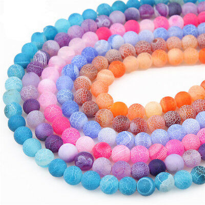 Colorful Frosted Natural Gemstone Agate Round Spacer Loose Beads 4/6/8/10/12mm