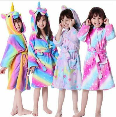 Girl Unicorn Dressing Bathrobe Gown Pyjamas Twosie Pyjamas Ages 2-13 years UK