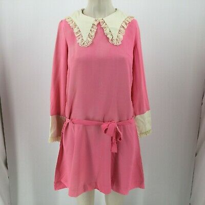 Vintage Long Sleeve Pink White  Belted Dress  Hand Made - Women's Sm/Med -