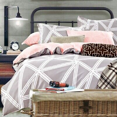 Single/KS/Double/Queen/King/Super K 100% Cotton Quilt/Duvet Cover Set-Revery