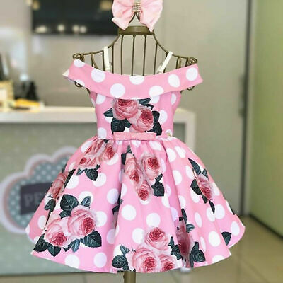 Toddler Kids Baby Girl Off-shoulder Dress Princess Party Pageant Flower Dresses