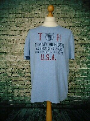 Vintage TOMMY HILFIGER T Shirt. Retro Sports and Streetwear. Men's UK L