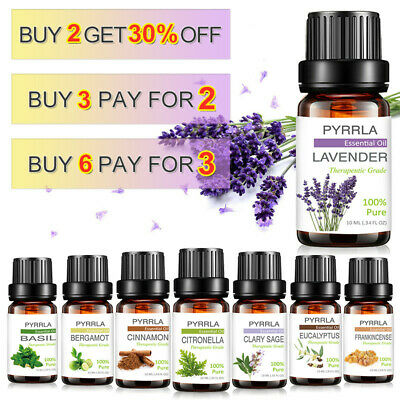 10Ml Essential Oils Set Aromatherapy 100% Pure Natural Organic Therapeutic Scent