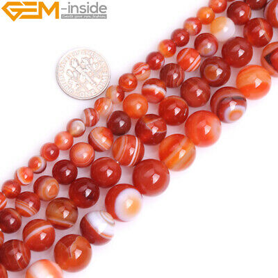 Natural Red Agate Gemstone Round Beads 15'' Strand 6mm 8mm 10mm 12mm Big Hole