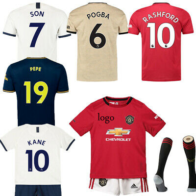19-20 Football Kits Soccer Suits Kids Adults Jersey Strip Sports Outfit+ socks
