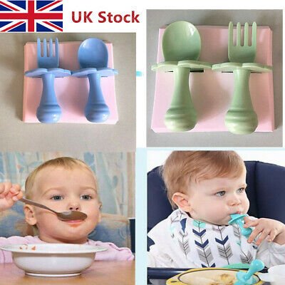 UK Safe and Easy to Use Baby Self Feeding Training Spoon Fork Cutlery Set New