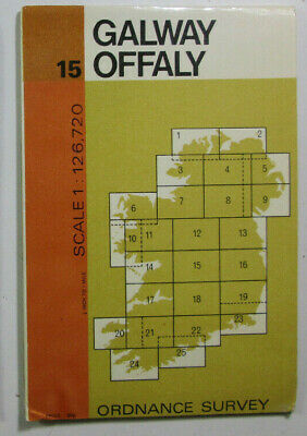 1972 Old Vintage OS Ordnance Survey of Ireland Half-Inch Map 15 Galway Offaly