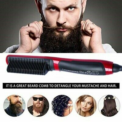 Men Heated Beard Straightener Brush Multifunctional Hair Comb Curling Show Cap